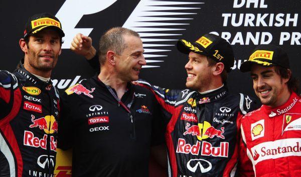 Webber, Vettel y Alonso