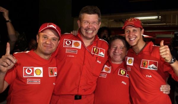 R. Barrichello/R. Brawn/J. Todt/M. Schumacher-GP Japón 2000