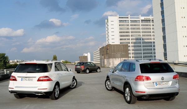 Imagen trasera del BMW X5, Mercedes ML y VW Touareg