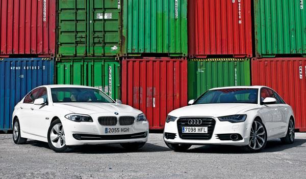 Audi A6 contra BMW Serie 5 delantera