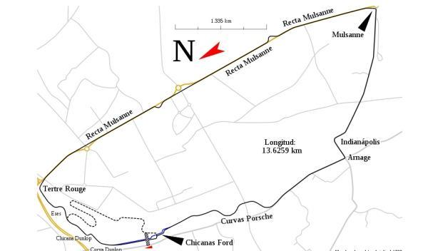 Mapa del circuito de La Sarthe 24 Horas de Le Mans 2012