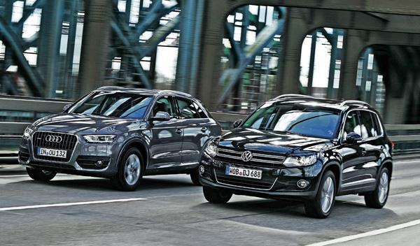 Audi Q3 contra W Tiguan frontal