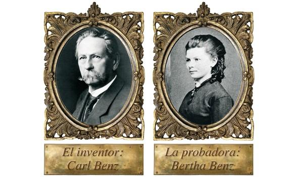 retrato de Carl Benz y Bertha Benz