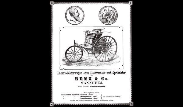 anuncio del  triciclo de Carl Benz