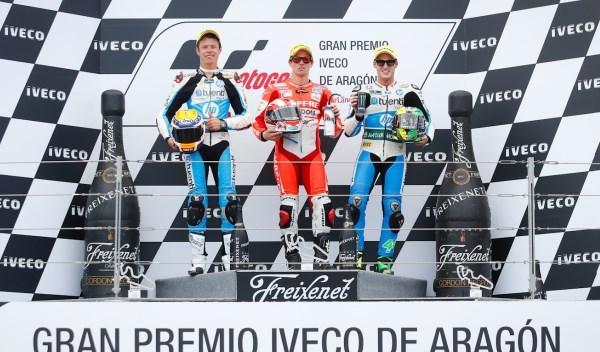 El podio de Moto2, en el GP de Aragón 2013.