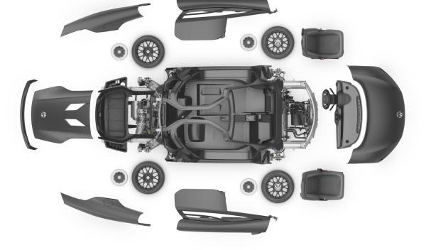 Volkswagen XL1, carrocería despiezada
