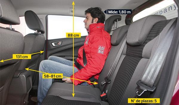 Ford Fiesta 5p 1.6 TDCi 95 CV interior plazas traseras