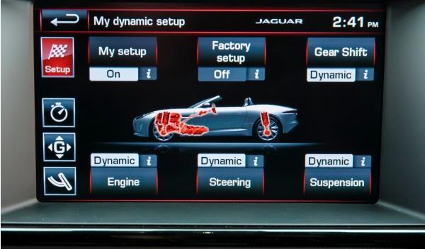 Pantalla del Dinamic Mode del Jaguar F-Type