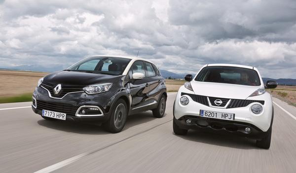 Nissan Juke y Renault Captur en movimiento