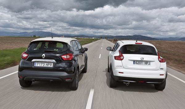 Trasera del Nissan Juke y el Renault Captur