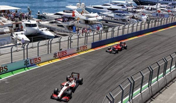 Yates en el puerto de Valencia durante la F1