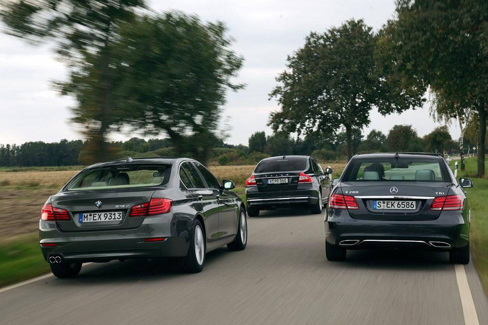 BMW 518d vs Mercedes E 200 CDI y Volvo S80 D4 traseras