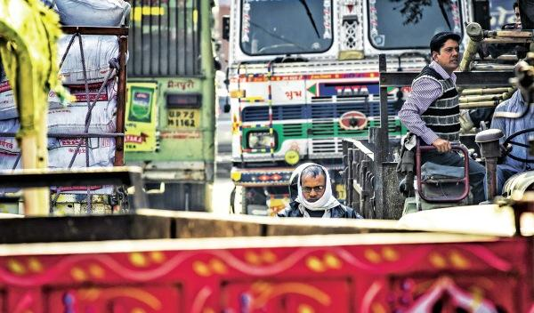 Caos de circulación en la India
