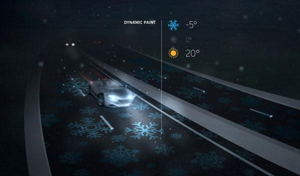Advertencia de posible hielo sobre una vía con iluminación variable