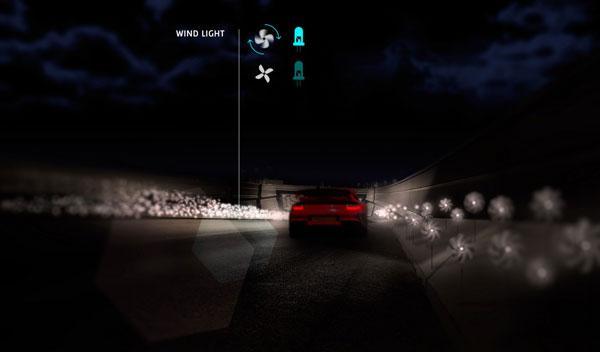Iluminación por micromolinos de viento en una vía de iluminación variab