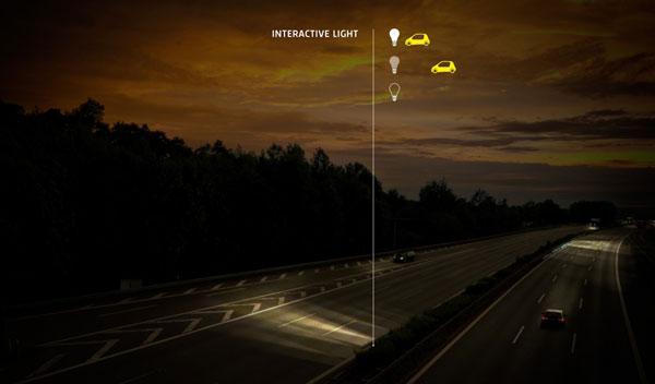 Punto de luz en una vía de iluminación variable