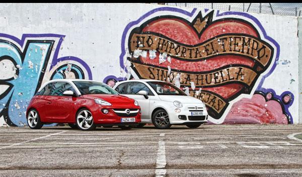 Frontal del Opel Adam y Fiat 500