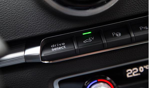 Botón del modo eléctrico del Audi A3 Sportback e-tron