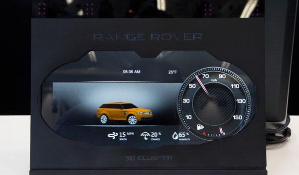 cuadro de mandos 3D coche inteligente jaguar land rover