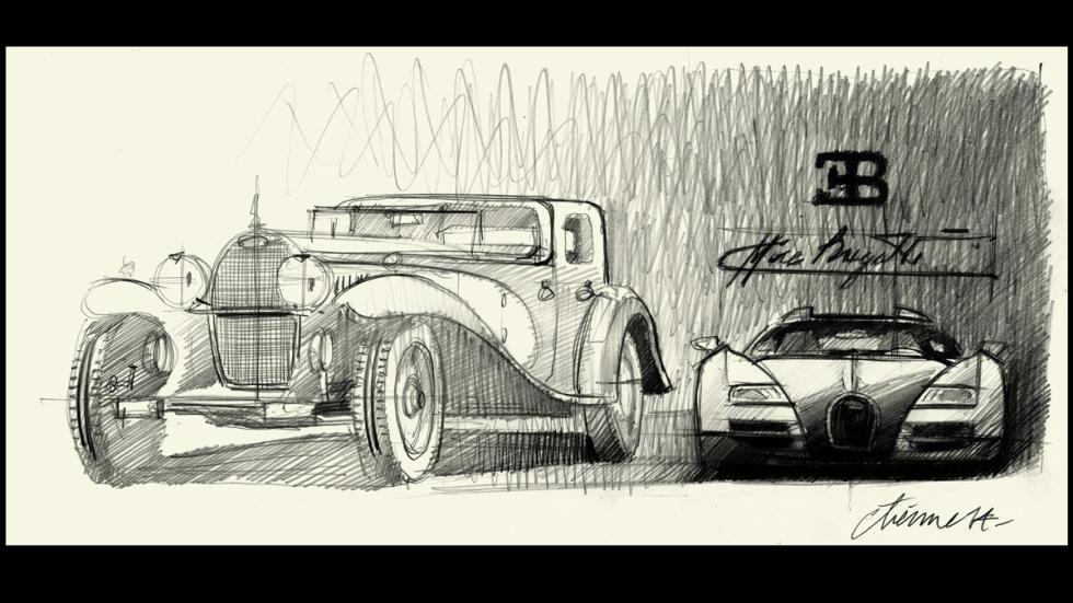 Diseño del Bugatti Type 41 Royale y frontal del Veyron