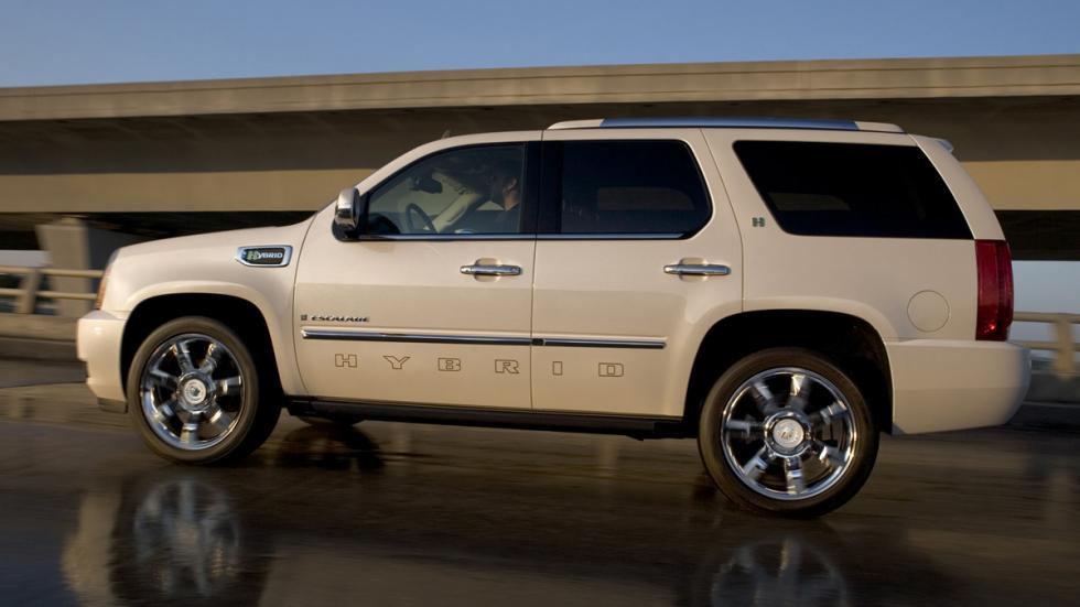 Cochazos millonetis exhibicionistas Cadillac Escalade Hybrid lateral