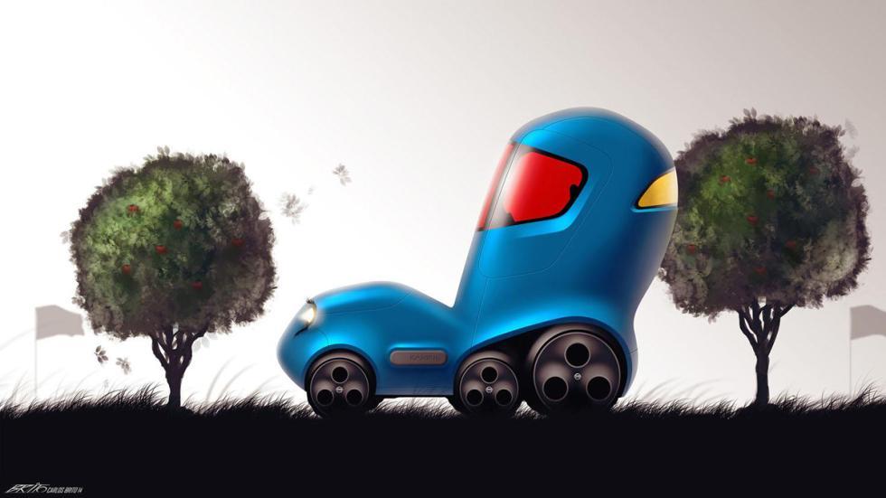 dibujo infantil prototipo Nissan seis ruedas