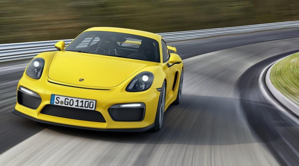 Porsche Cayman GT4, amarillo delantera