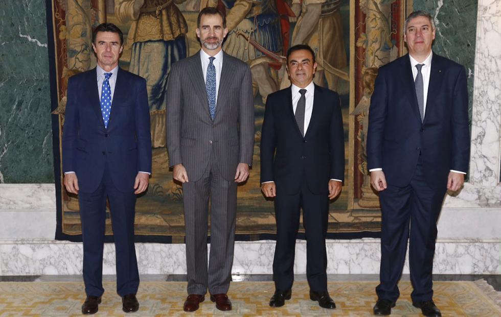 José Manuel Soria, Felipe VI, Carlos Ghosn y José Vicente de los Mozos.