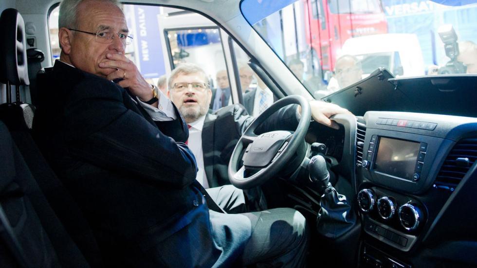 Martin Winterkorn Salón de vehículos industriales dentro de un camión