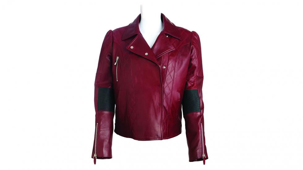 Cazadora de cuero rojo para mujer de la Colección Bentley