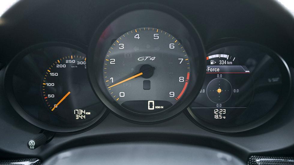 Prueba: Porsche Cayman GT4 2015 detalle estático relojes