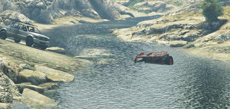 Coche 4x4 atraviesa río.