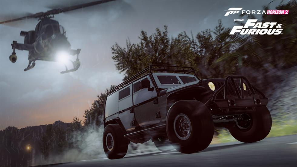 Forza Horizon 2 Furious 7 Car Pack - Jeep Wrangler Unlimited contra helicóptero