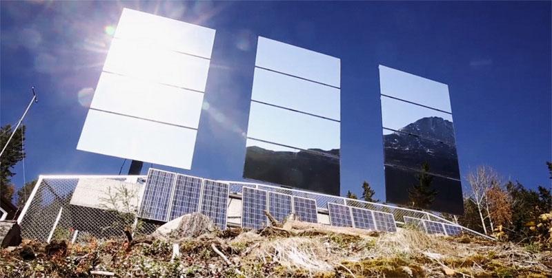 El invento Solspeil se basa en tres espejos gigantes