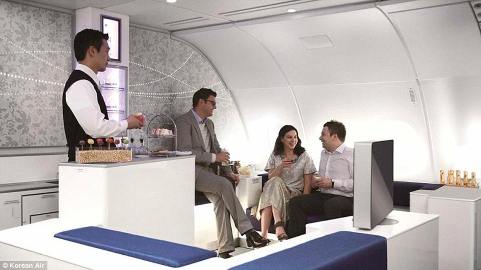 Korean Air - loungue con clientes