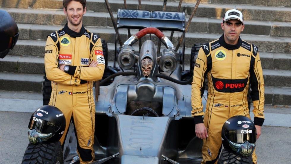 Pastor maldonado Romain Grosjean Lotus F1 Mad Max