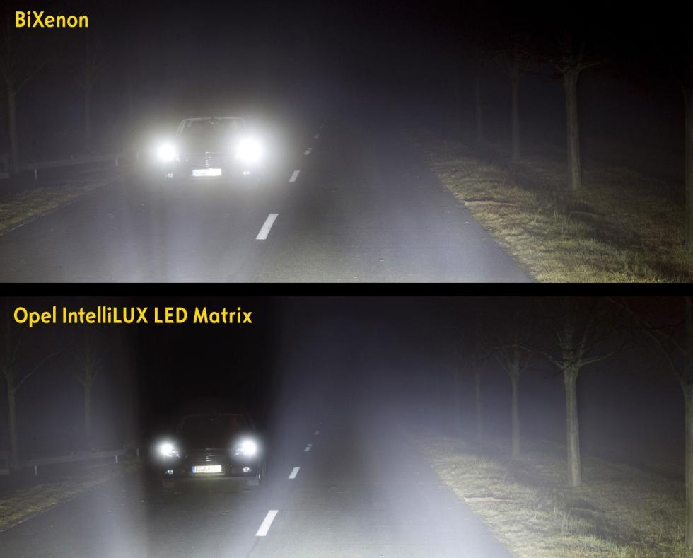 El sistema de iluminación IntelliLux en el Opel Astra.