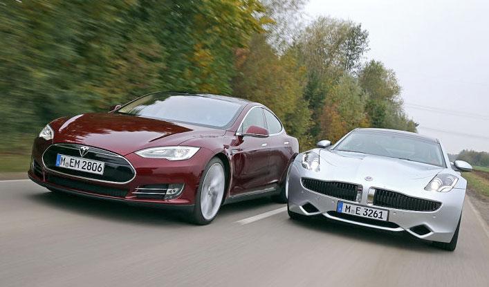 Tesla Model S y el Fisker Karm