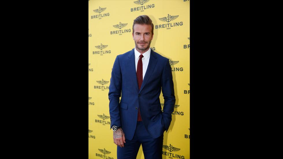 David Beckham posando con reloj Breitling