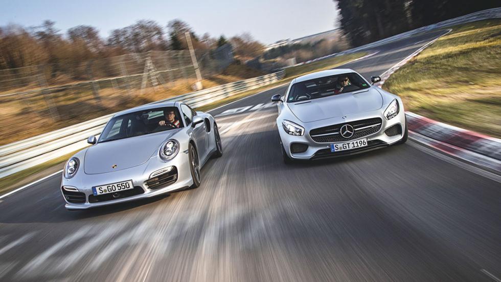 Mercedes AMG GT y Porsche 911 frontal