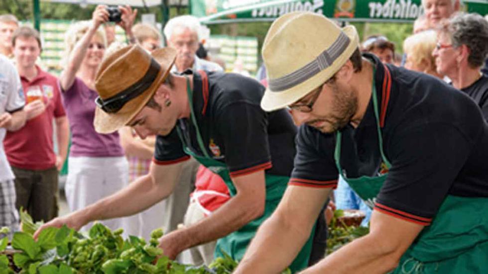 Cosechadores de lúpulo de Saalfeld, concurso el último domingo de agosto.