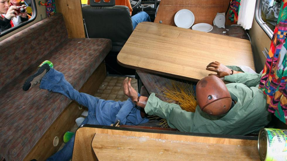 Crash-test a caravanas: el riesgo no descansa en vacaciones dummy mesa 2