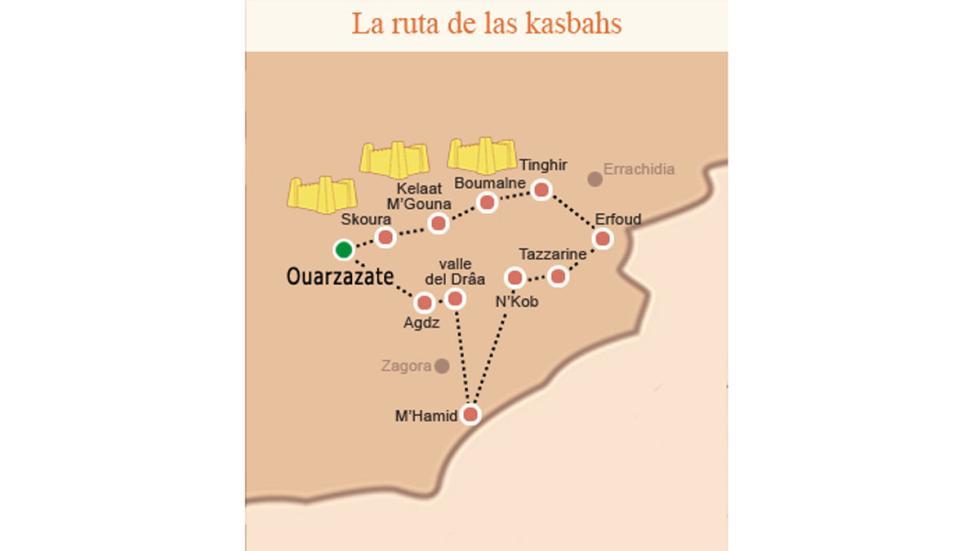 Mapa de la Ruta de las kashba
