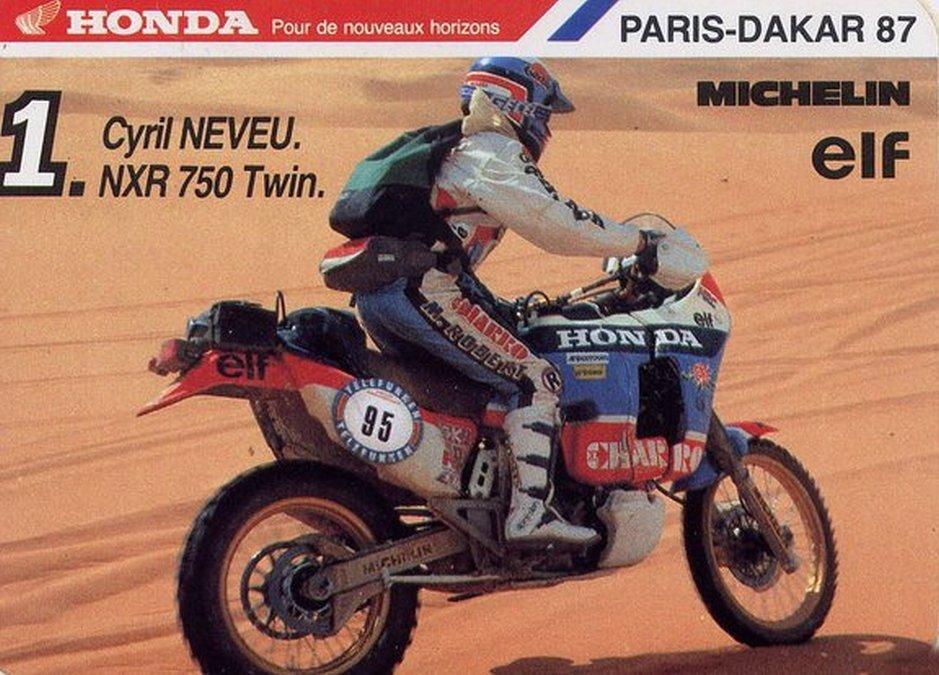 Honda Africa Twin catálogo años 80 rally París Dakar.