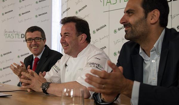 Martín Berasategui en la presentación de los menús para viajar de Skoda
