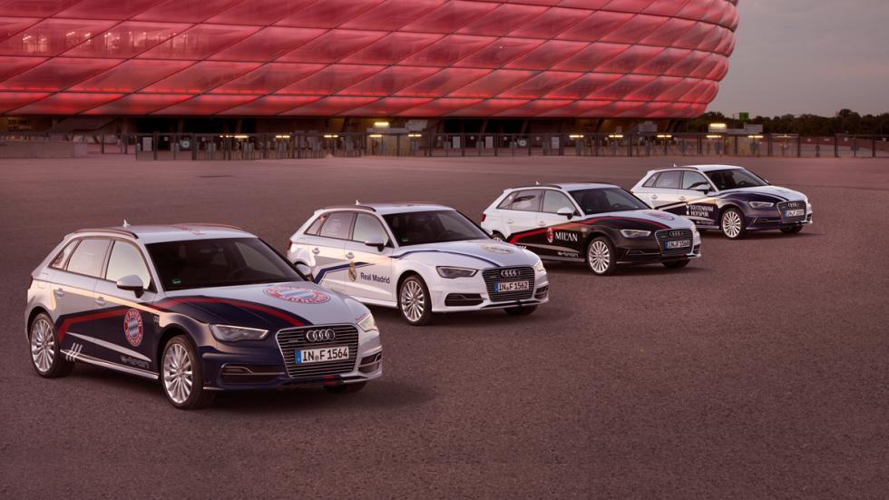 Los 4  Audi A3 Sportback con los colores de los clubes que participarán.