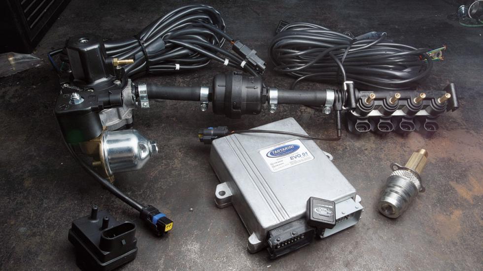El kit completo de conversión a GLP para un motor de cuatro cilindros