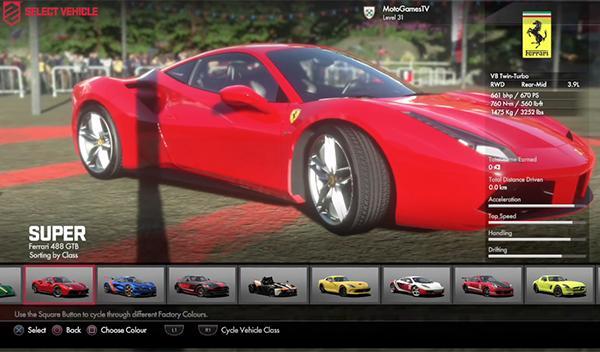 Ferrari 488 GTB Driveclub PS4 4
