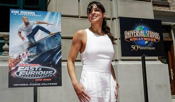 Michelle Rodriguez en la presentación de la nueva atracción de 'A todo gas'