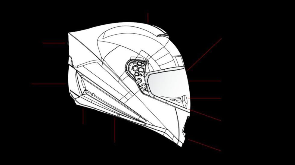 Casco Skully AR-1 . Esquema de todas sus funciones.